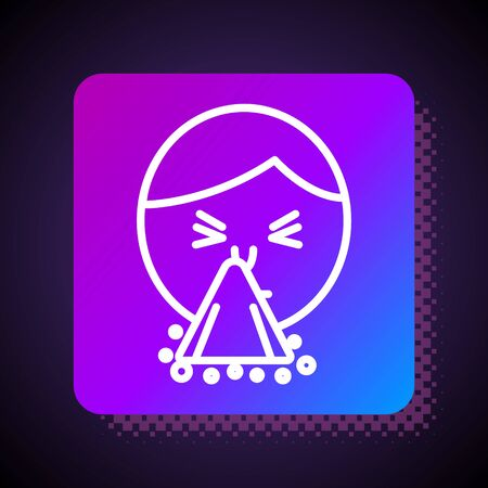 White line Man holding handkerchief or napkin to his runny nose icon isolated on black background. Coryza desease symptoms. Square color button. Vector Illustration  イラスト・ベクター素材