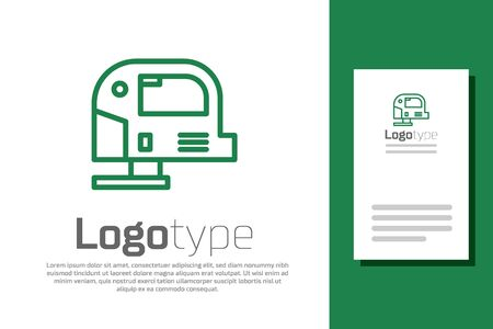 Green line Electric jigsaw with steel sharp blade icon isolated on white background. Power tool for woodwork. Ilustración de vector