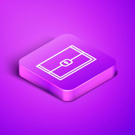 Isometric line Chest for game icon isolated on purple background. Purple square button. Vector Illustration