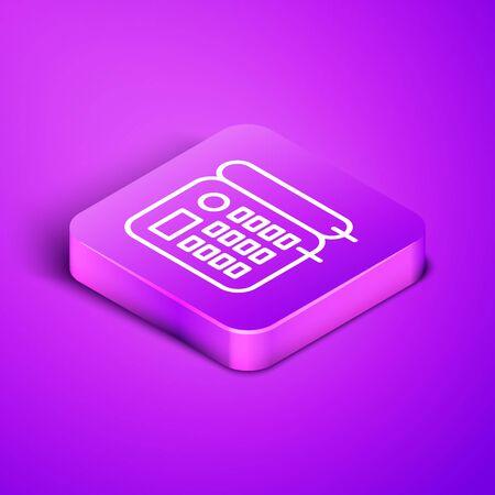 Isometric line Telephone icon isolated on purple background. Landline phone. Purple square button. Vector Illustration Foto de archivo - 136755372
