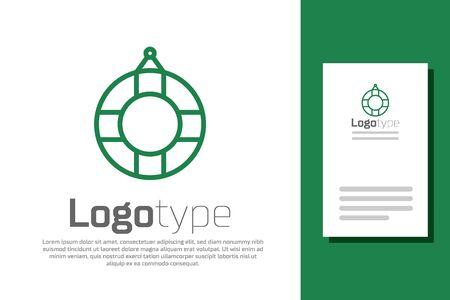 Green line Lifebuoy icon isolated on white background. Lifebelt symbol.