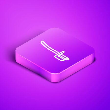 Isometric line Pirate sword icon isolated on purple background. Sabre sign. Purple square button. Vector Illustration Ilustração