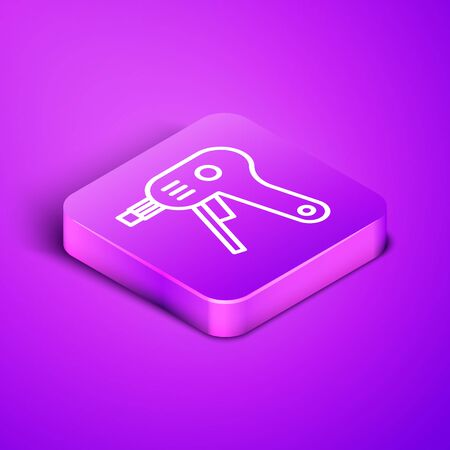 Isometric line Electric hot glue gun icon isolated on purple background. Hot pistol glue. Hot repair work appliance silicone. Purple square button. Vector Illustration