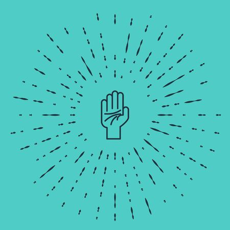 Black line Palmistry of the hand icon isolated on green background. Abstract circle random dots. Vector Illustration