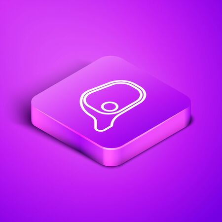 Isometric line Car mirror icon isolated on purple background. Purple square button. Vector Illustration