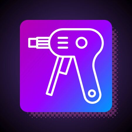 White line Electric hot glue gun icon isolated on black background. Hot pistol glue. Hot repair work appliance silicone. Square color button. Vector Illustration