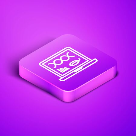 Isometric line Genetic engineering modification on laptop icon isolated on purple background. DNA analysis, genetics testing, cloning. Purple square button. Vector Illustration