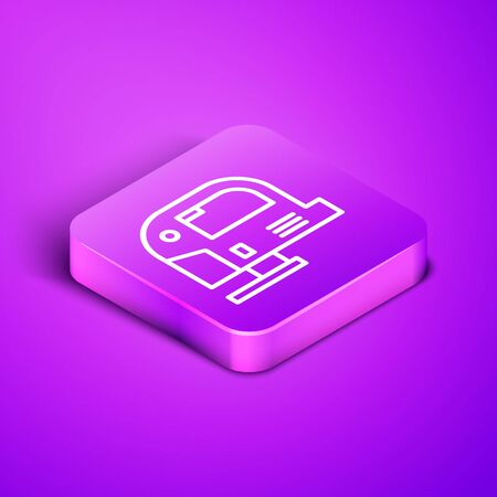 Isometric line Electric jigsaw with steel sharp blade icon isolated on purple background. Power tool for woodwork. Purple square button. Vector Illustration