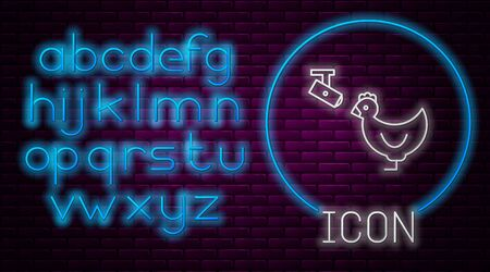 Glowing neon line Chicken farm and wireless Controlling CCTV security camera icon isolated on brick wall background. Neon light alphabet. Vector Illustration Illusztráció