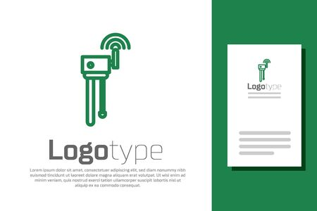 Green line Router and wifi signal symbol icon isolated on white background. Wireless ethernet modem router.