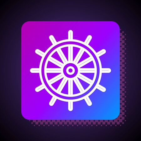 White line Ship steering wheel icon isolated on black background. Square color button. Vector Illustration