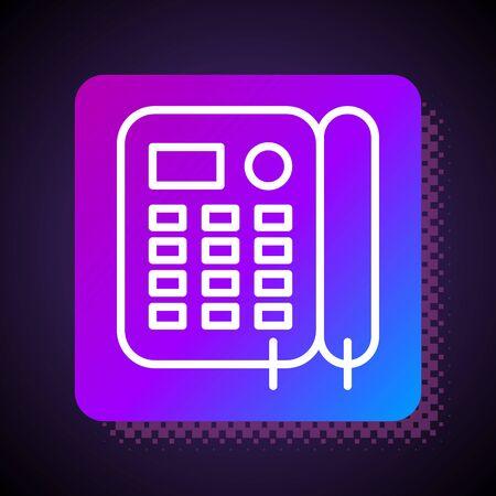 White line Telephone icon isolated on black background. Landline phone. Square color button. Vector Illustration Foto de archivo - 136758336