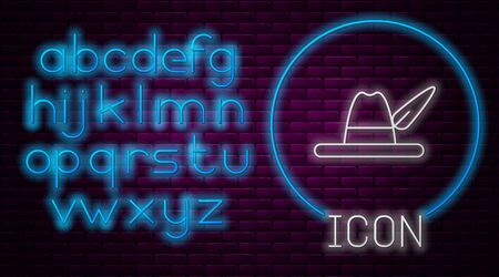 Glowing neon line Oktoberfest hat icon isolated on brick wall background. Hunter hat with feather. German hat. Neon light alphabet. Vector Illustration