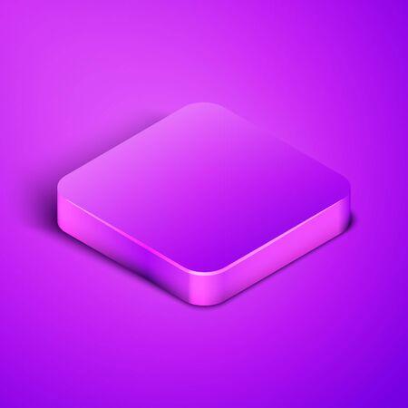 Purple square button. Vector Illustration