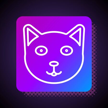 White line Pet icon isolated on black background. Square color button. Vector Illustration
