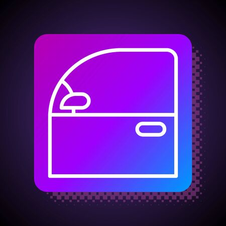 White line Car door icon isolated on black background. Square color button. Vector Illustration Vettoriali