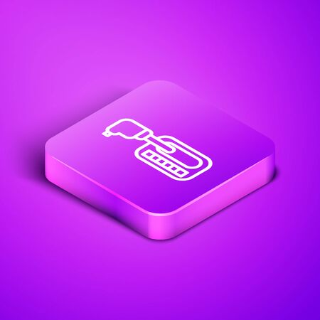 Isometric line Gear shifter icon isolated on purple background. Transmission icon. Purple square button. Vector Illustration