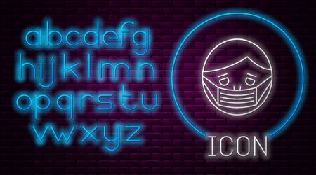 Glowing neon line Man face in a medical protective mask icon isolated on brick wall background. Quarantine. Neon light alphabet. Vector Illustration