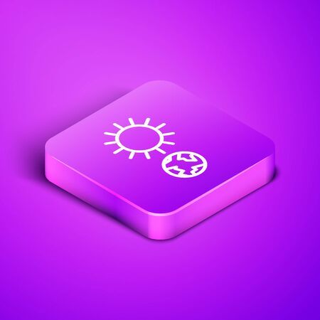 Isometric line Solstice icon isolated on purple background. Purple square button. Vector Illustration