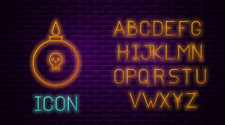 Glowing neon line Bomb ready to explode icon isolated on brick wall background. Neon light alphabet. Vector Illustration