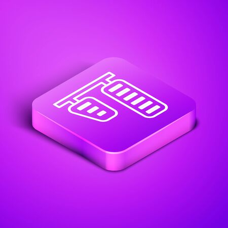 Isometric line Car gas and brake pedals icon isolated on purple background. Purple square button. Vector Illustration Иллюстрация