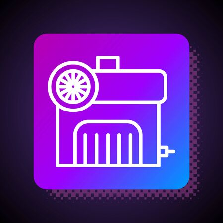 White line Air compressor icon isolated on black background. Square color button. Vector Illustration