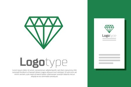 Green line Diamond icon isolated on white background. Jewelry symbol. Gem stone. Illusztráció