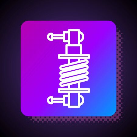 White line Shock absorber icon isolated on black background. Square color button. Vector Illustration Illustration