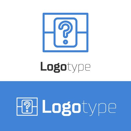 Blue line Mystery box or random loot box for games icon isolated on white background. Question box.