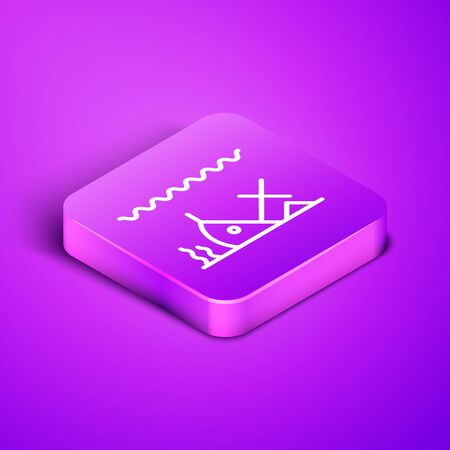 Isometric line Sunken ship at the bottom of the sea icon isolated on purple background. Purple square button. Vector Illustration Vettoriali