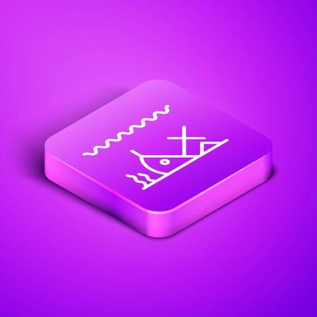Ligne isométrique Navire coulé au fond de l'icône de la mer isolée sur fond violet. Bouton carré violet. Illustration vectorielle Vecteurs