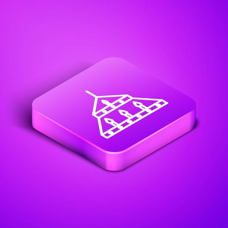 Isometric line Massive steel chandelier with candles in medieval icon isolated on purple background. Purple square button. Vector Illustration