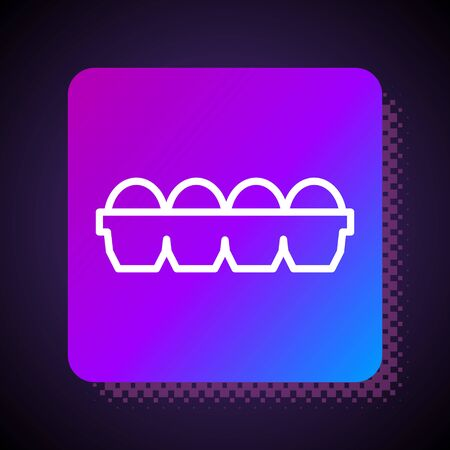 White line Chicken egg in box icon isolated on black background. Square color button. Vector Illustration Ilustração