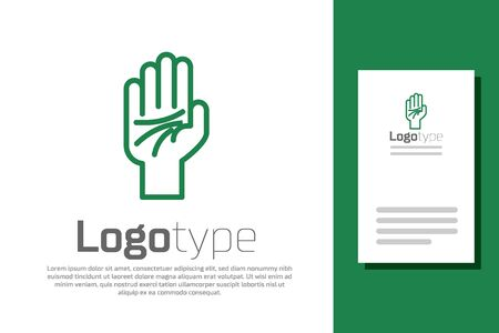 Green line Palmistry of the hand icon isolated on white background.