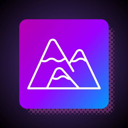 White line Mountains icon isolated on black background. Symbol of victory or success concept. Square color button. Vector Illustration