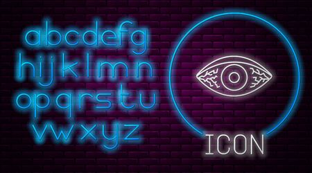 Glowing neon line Reddish eye due to viral, bacterial or allergic conjunctivitis icon isolated on brick wall background. Neon light alphabet. Vector Illustration