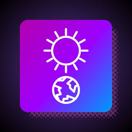 White line Solstice icon isolated on black background. Square color button. Vector Illustration