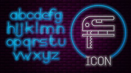 Glowing neon line Electric jigsaw with steel sharp blade icon isolated on brick wall background. Power tool for woodwork. Neon light alphabet. Vector Illustration