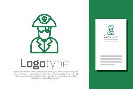 Green line Pirate captain icon isolated on white background.
