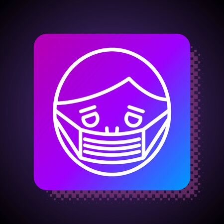 White line Man face in a medical protective mask icon isolated on black background. Quarantine. Square color button. Vector Illustration Illusztráció