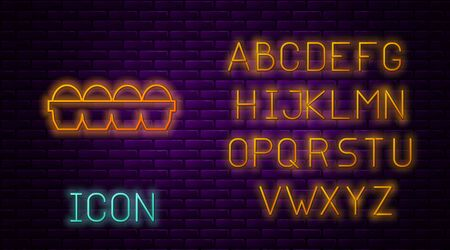 Glowing neon line Chicken egg in box icon isolated on brick wall background. Neon light alphabet. Vector Illustration