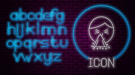 Glowing neon line Man holding handkerchief or napkin to his runny nose icon isolated on brick wall background. Coryza desease symptoms. Neon light alphabet. Vector Illustration  イラスト・ベクター素材