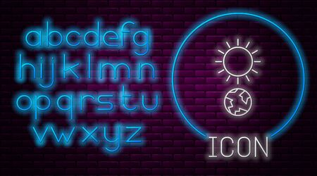 Glowing neon line Solstice icon isolated on brick wall background. Neon light alphabet. Vector Illustration