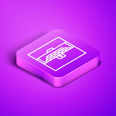 Isometric line Opened antique treasure chest icon isolated on purple background. Vintage wooden chest with golden coin. Purple square button. Vector Illustration