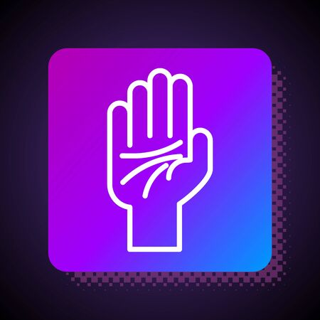 White line Palmistry of the hand icon isolated on black background. Square color button. Vector Illustration