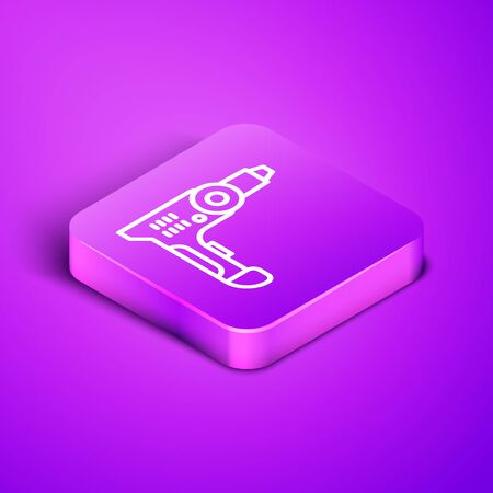 Isometric line Electric drill machine icon isolated on purple background. Repair tool. Purple square button. Vector Illustration
