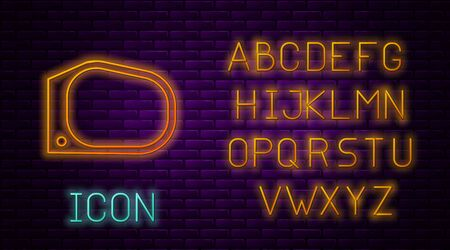 Glowing neon line Car mirror icon isolated on brick wall background. Neon light alphabet. Vector Illustration