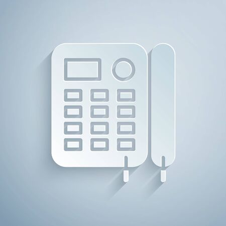 Paper cut Telephone icon isolated on grey background. Landline phone. Paper art style. Vector Illustration Foto de archivo - 136807114