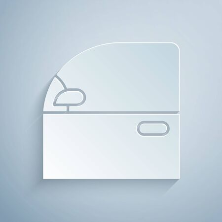 Paper cut Car door icon isolated on grey background. Paper art style. Vector Illustration