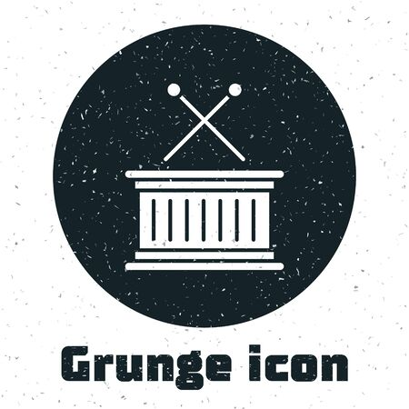 Grunge Musical instrument drum and drum sticks icon isolated on white background. Vector Illustration